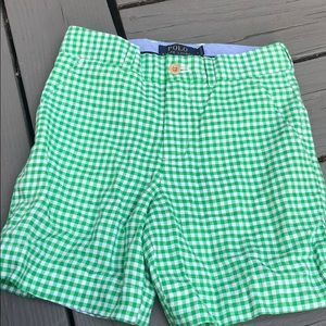 Polo green gingham shorts size 8